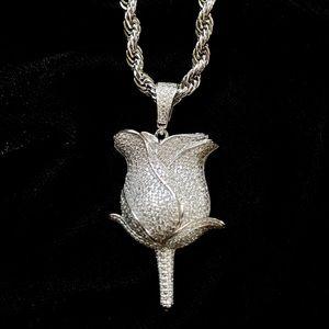 ROSE FULL DIAMONDS CZ 18K WHITE GOLD CHAIN ITALY